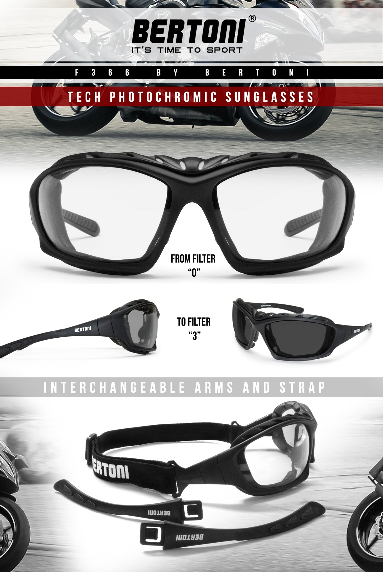 cc17b85ac8 gafas moto fotocromaticas graduadas F366 Bertoni