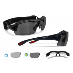 Photochromic Polarized Motorcycle Sunglasses for Prescription Lenses P399FTD Shiny Black