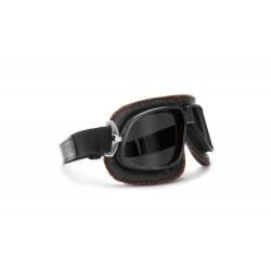 Gafas Moto Vintage para Harley Davidson y custom lente oscura by Bertoni Italy - AF196A - negra con retoque anaranjado