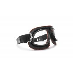 Gafas Mascara Moto para Harley y custom lente clara by Bertoni Italy - AF196B negro - costuras color naranja