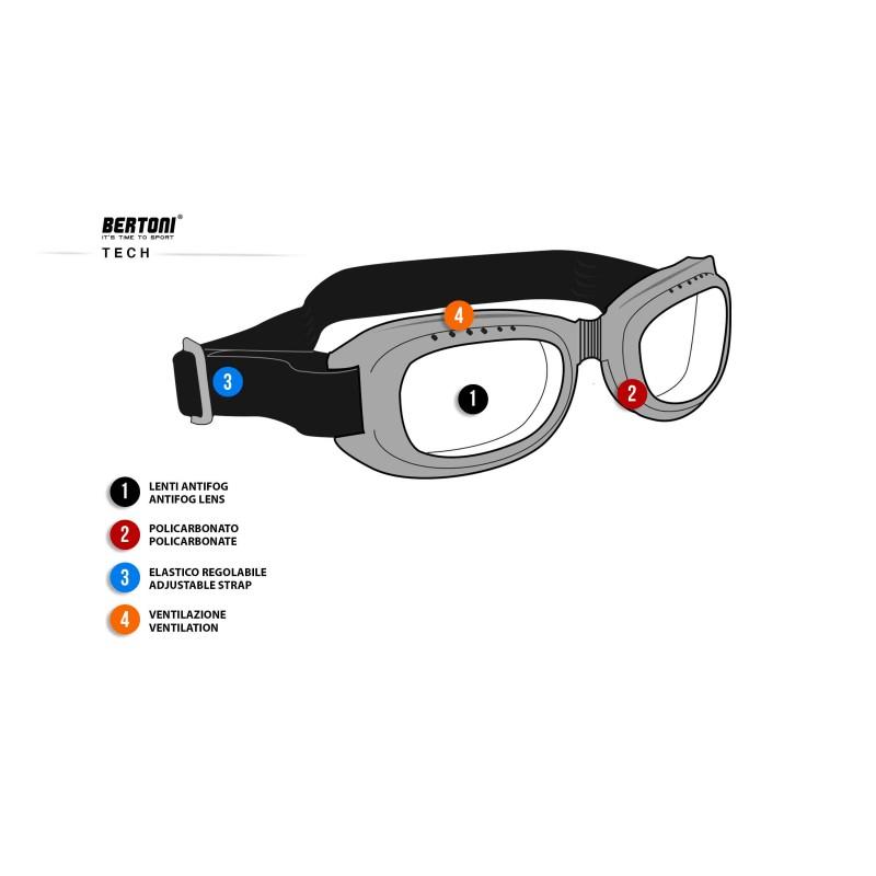 motorradbrille schutzbrille schwarzes by bertoni italy. Black Bedroom Furniture Sets. Home Design Ideas