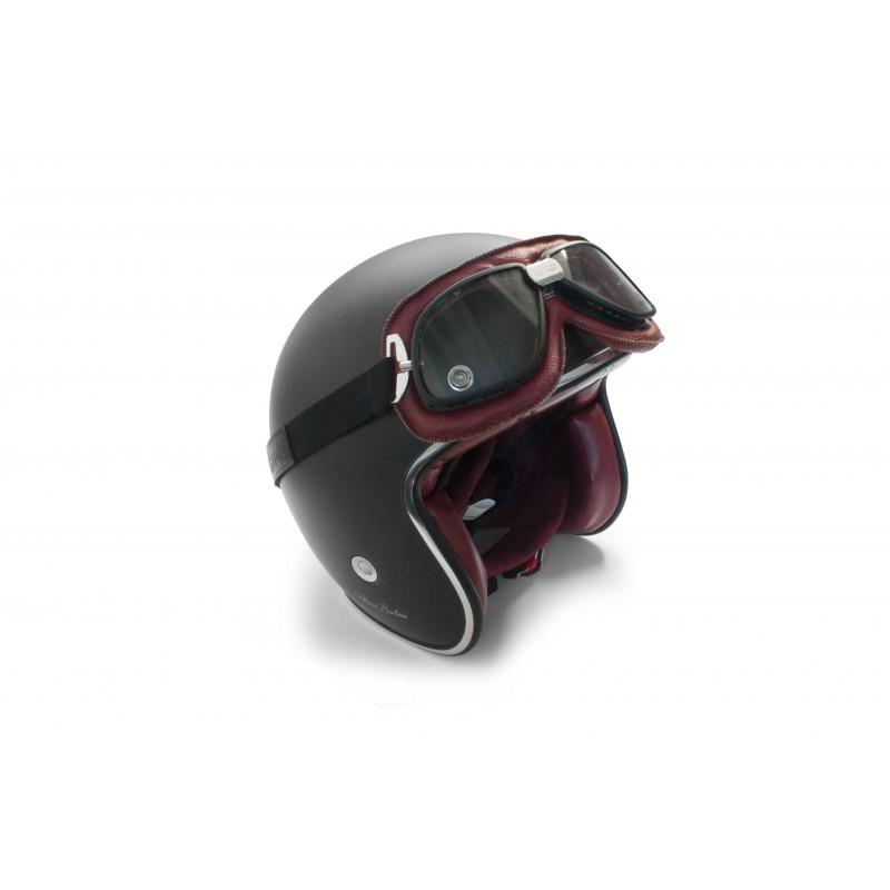 motorradbrille fliegerbrillen pilotenbrillen rotes leder. Black Bedroom Furniture Sets. Home Design Ideas