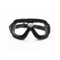 Gafas Moto Mascara vintage para Harley Davidson y Vespa by Bertoni Italy - AF190A piel negra