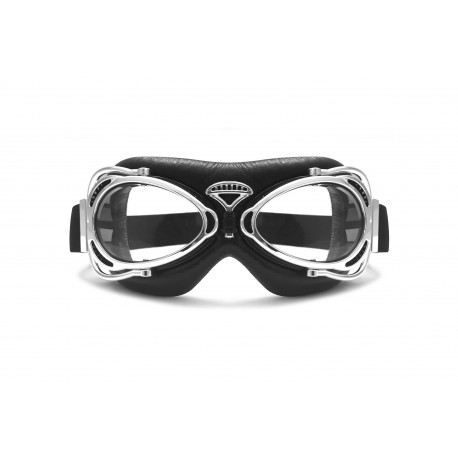 Motorcycle Vintage Goggles Chomed - front view - AF77B