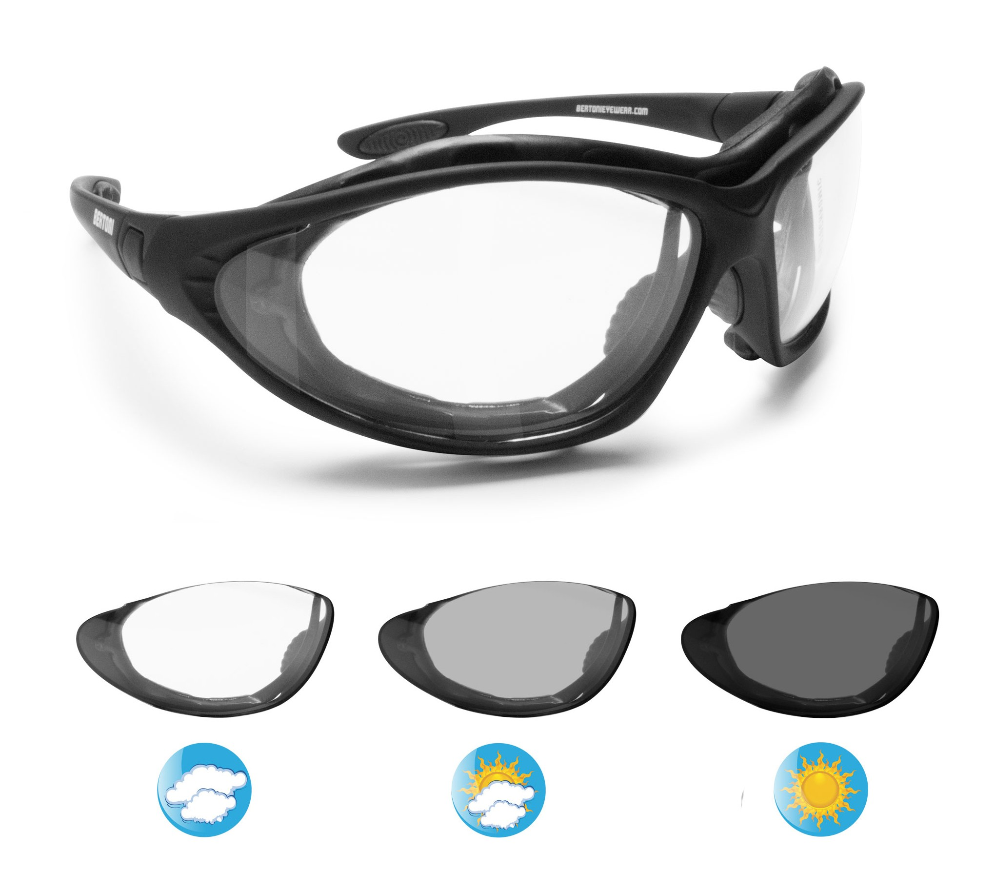 6226915fed6c Photochromic Motorcycle Goggles - F333A by Bertoni Italy