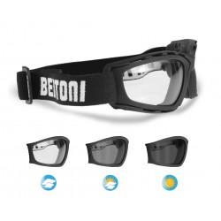 Gafas Fotocromaticas Moto Volo y Esqui con lentes antihumo by Bertoni Italy - F120A negro mate