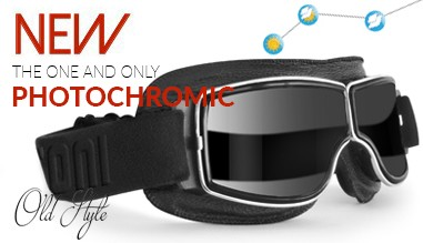 The one and lonely vintage motorcycle goggles with photochromic lenses from clear to smoke